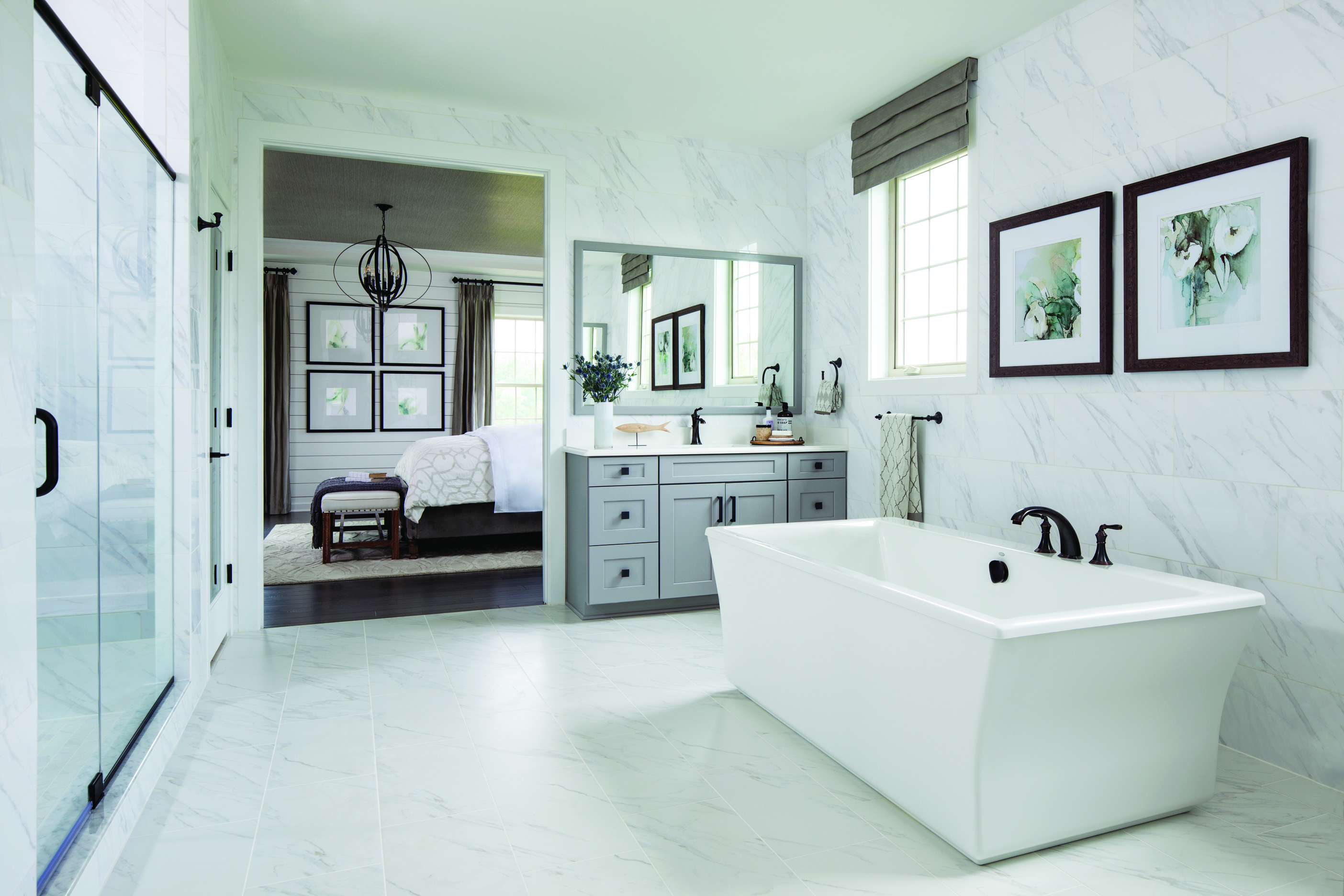 Luxury bathroom with free standing tub.