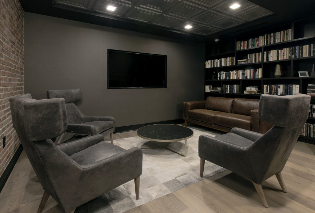 Home theater room in a New York City condo building.