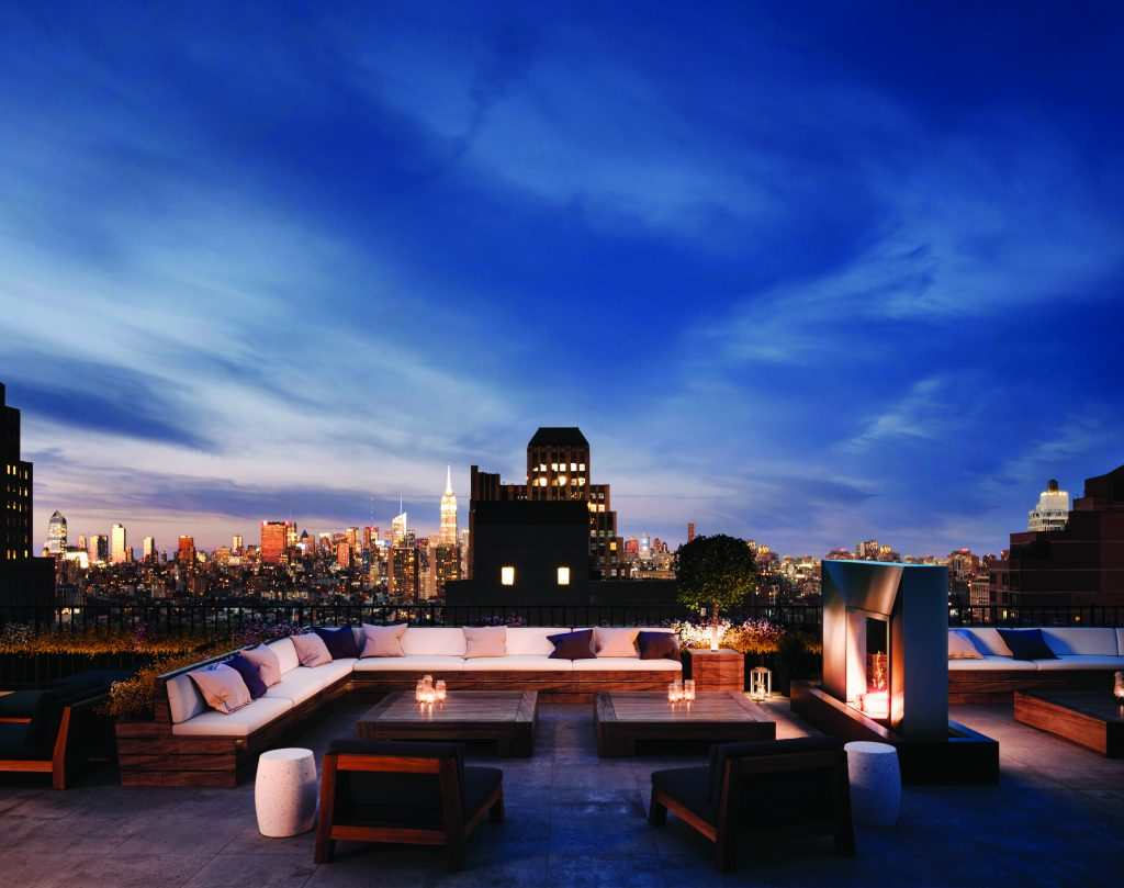 Rooftop terrace in a New York City condo building.