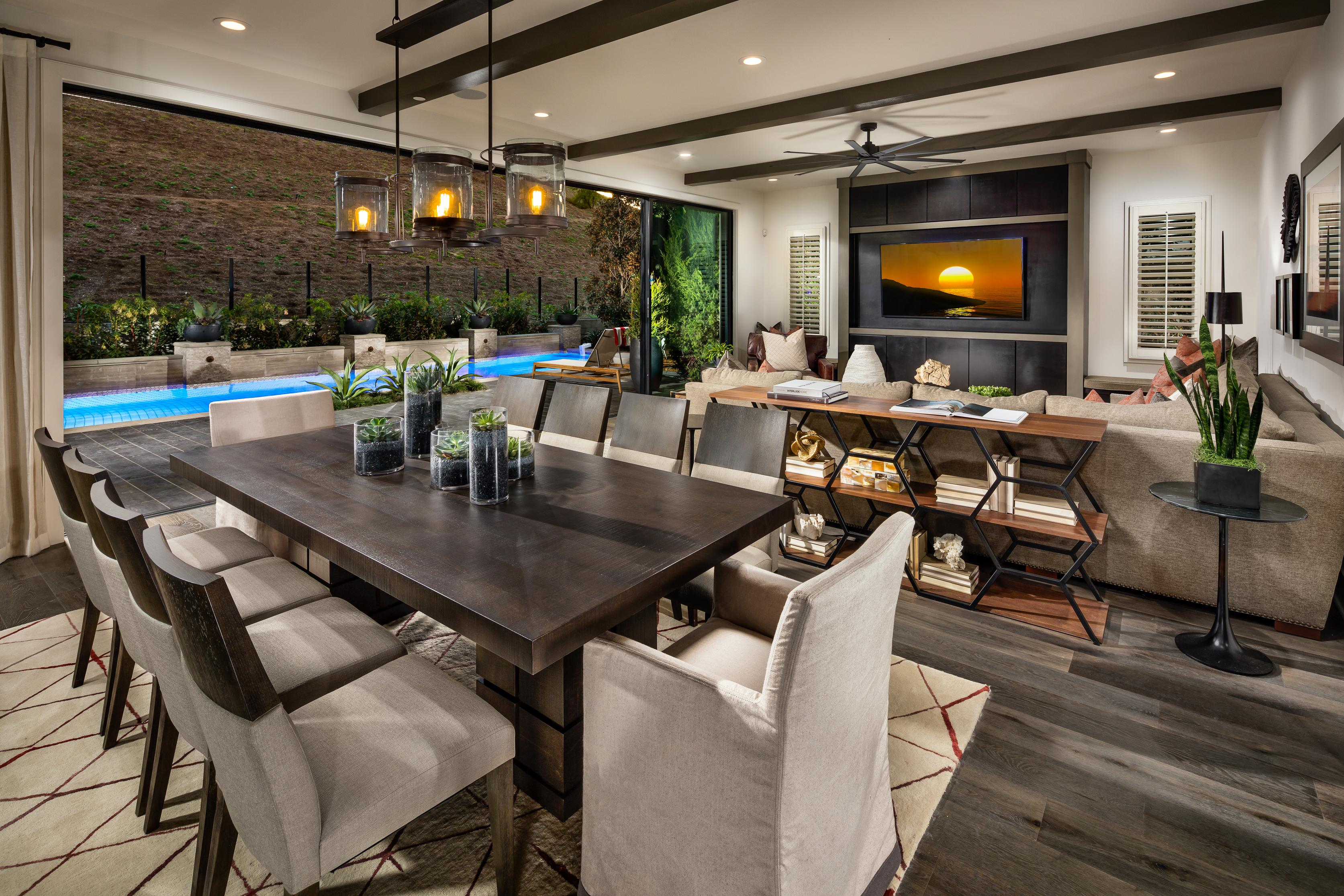 Open concept dining room and living room.