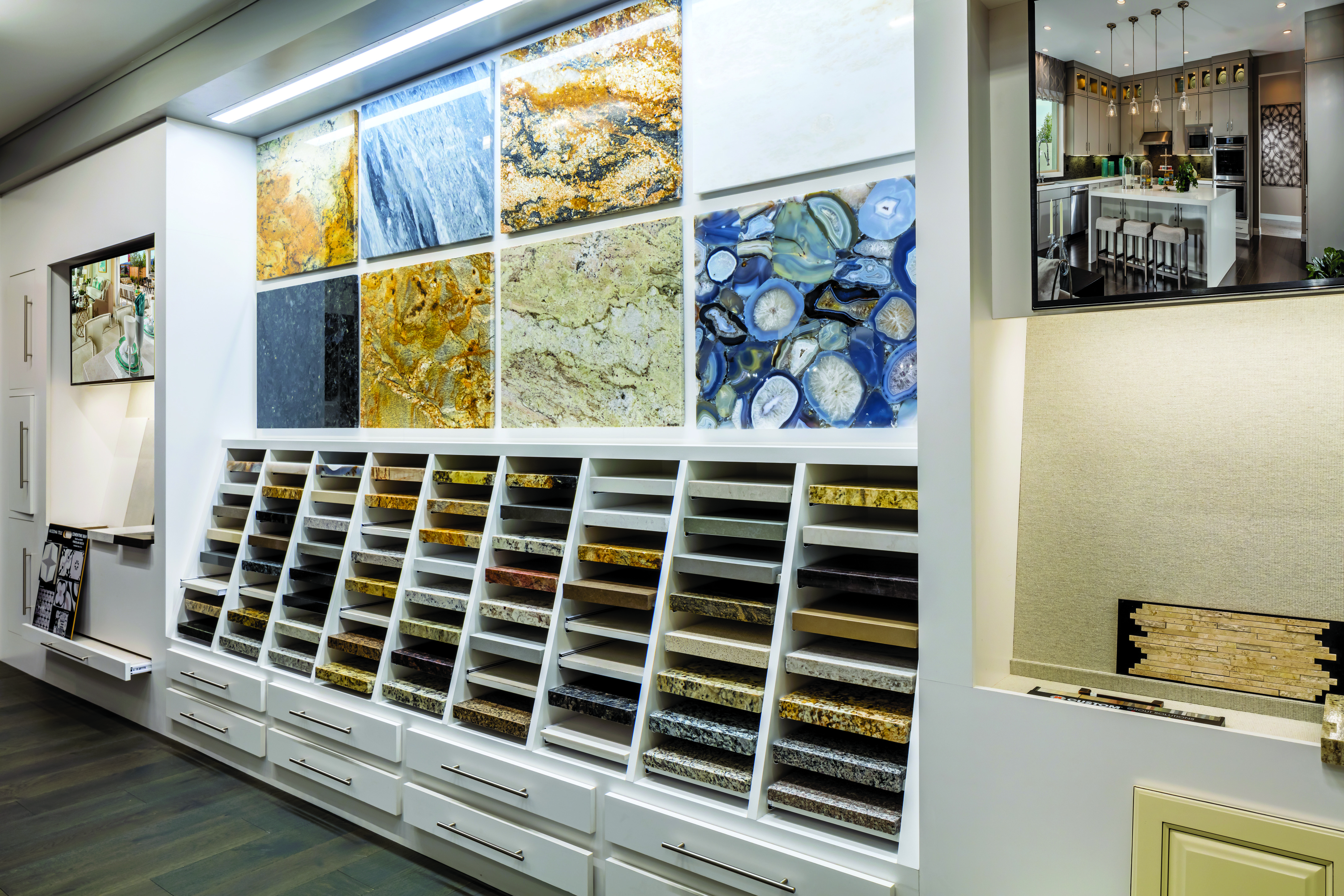 Countertop selection in a home design studio.