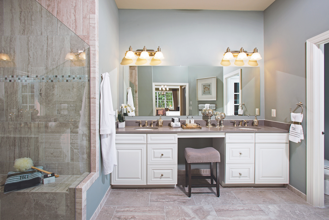 A white bathroom vanity