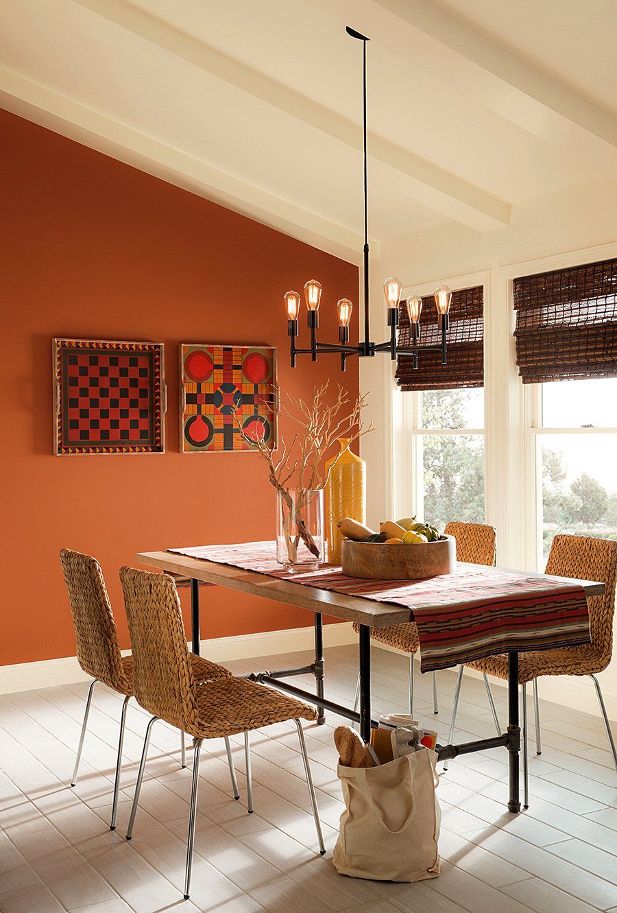 Cream Colored Dining Room with Orange Accents