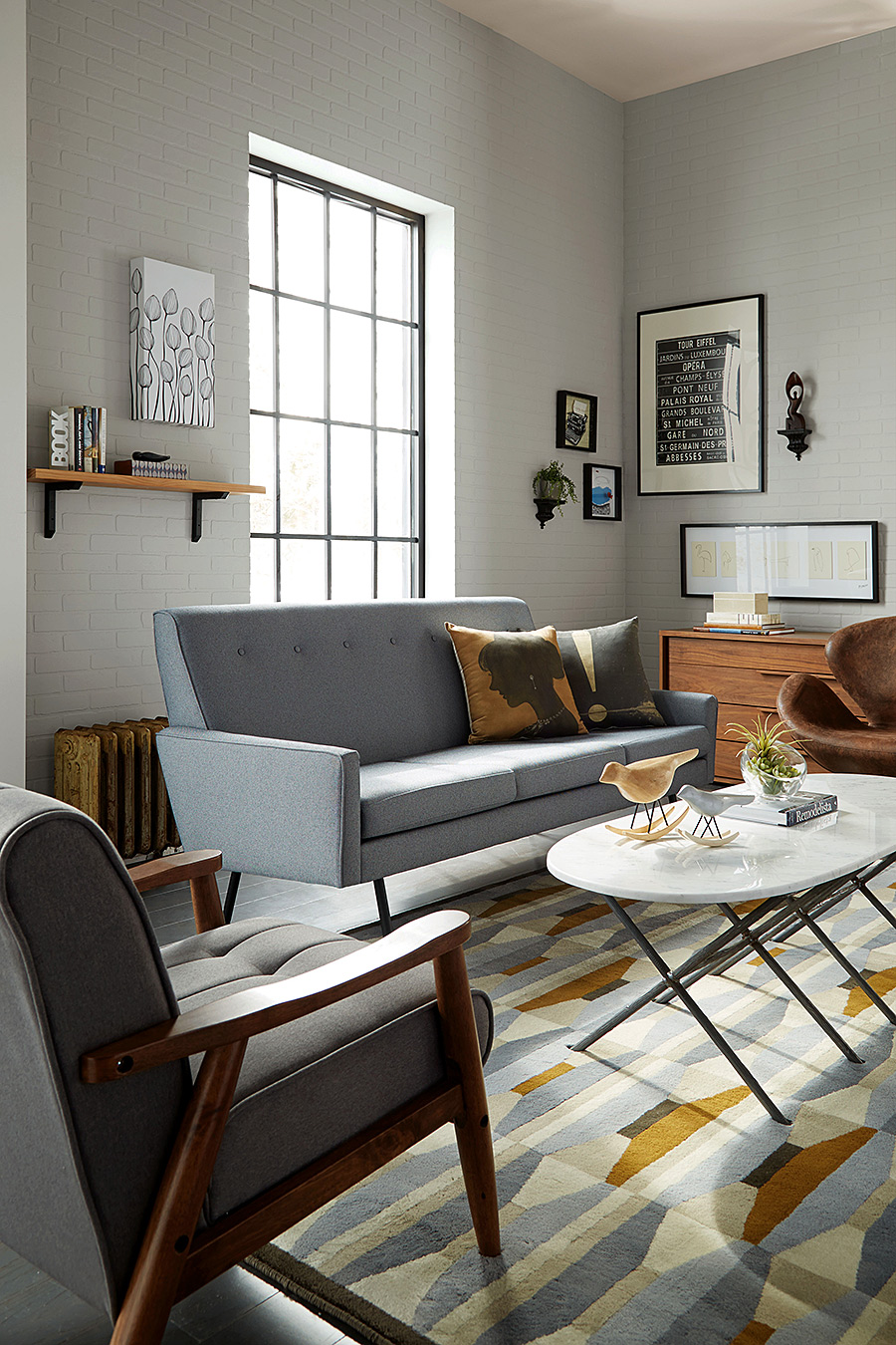 Living Room with Grey Color Scheme