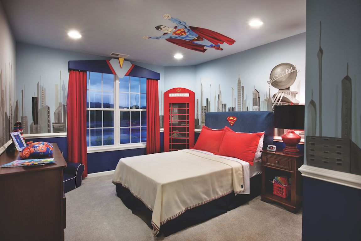 Boys bedroom with superhero theme.