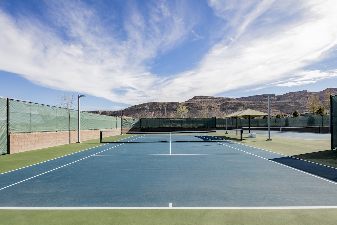 Tennis court in Nevada with a view of the mountains.