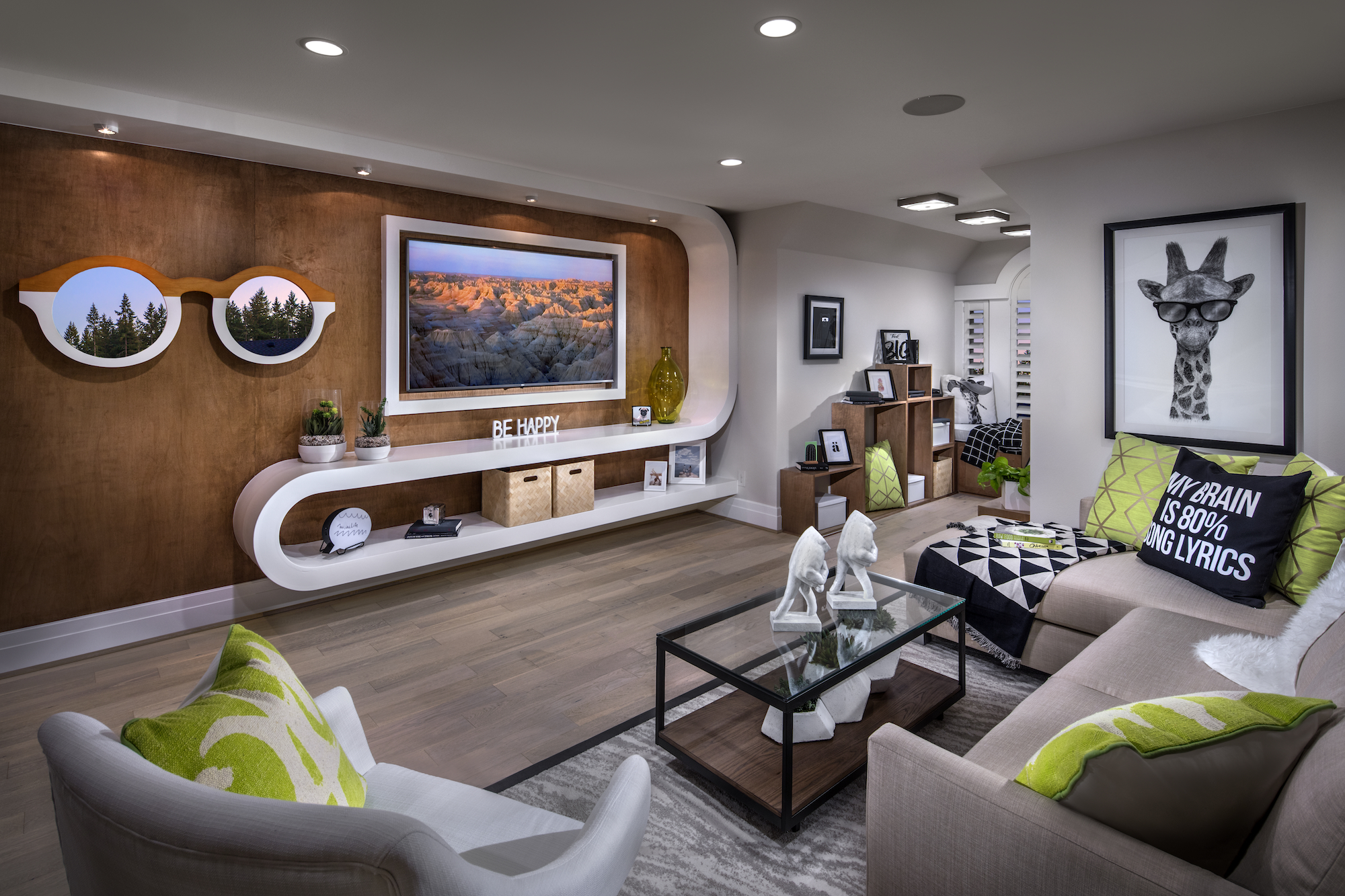Modern living room with a wood wall.