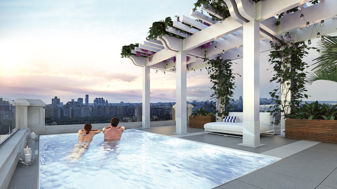 A rooftop pool overlooking New York City.