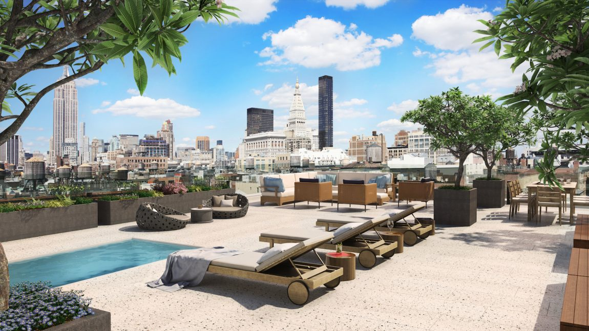 rooftop terrace with a pool in new york city.