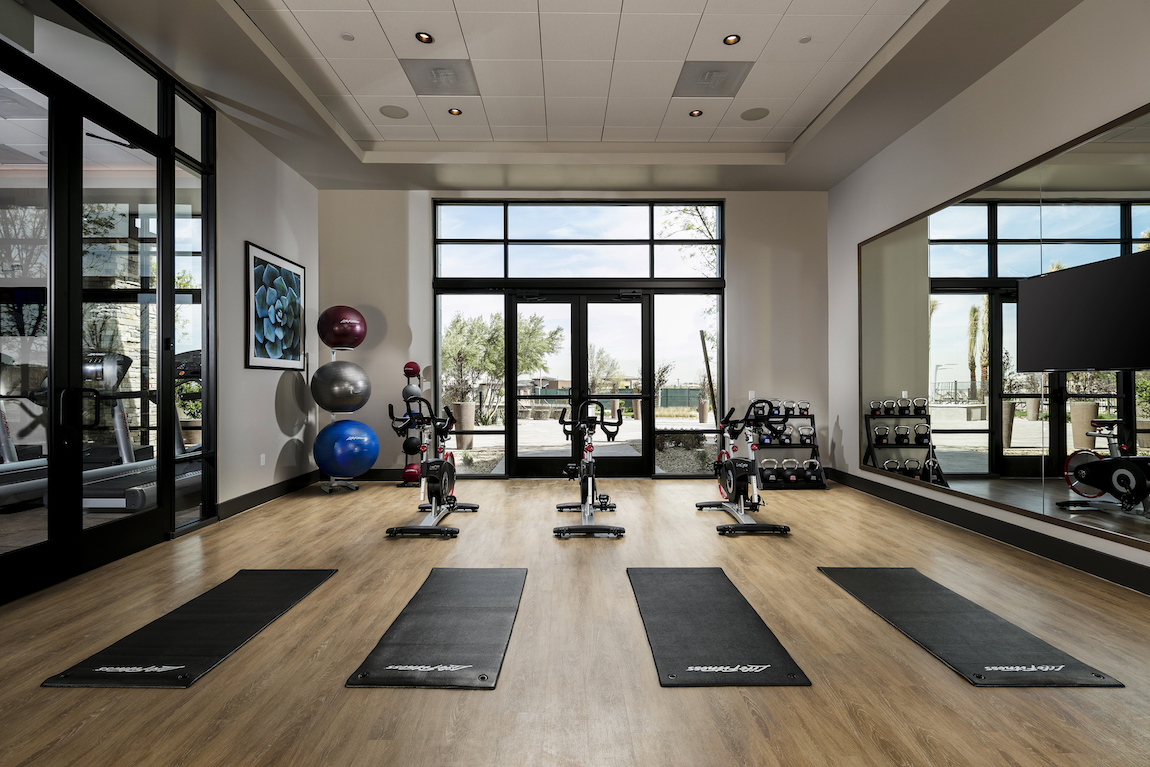Yoga room in an active living 55+ community.