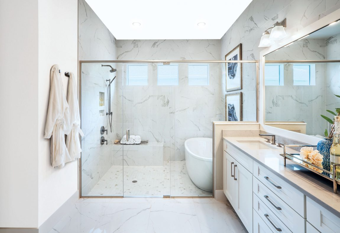bathroom with high reflective white paint color