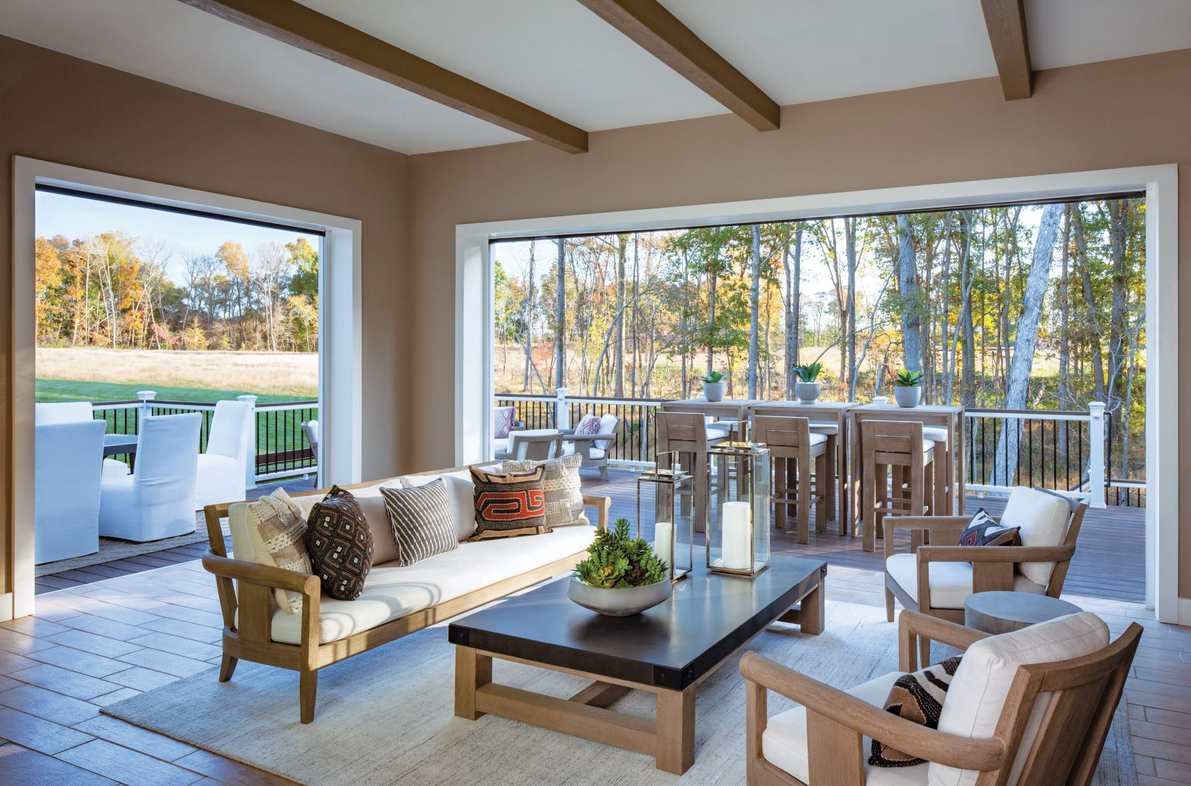 patio with poised taupe paint color walls