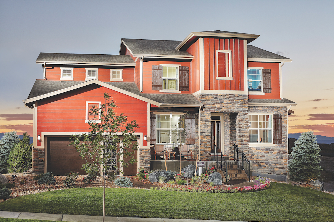 Red luxury house in suburban Colorado.