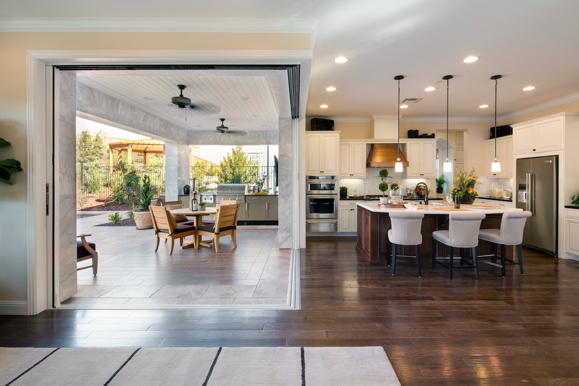 Indoor, outdoor space with natural light in a California home.