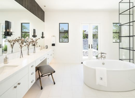 bathroom with white tile and floor
