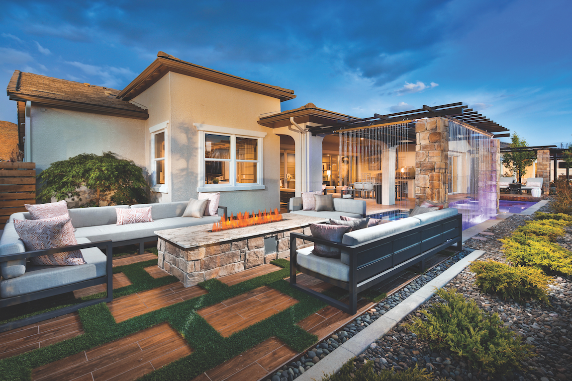 Outdoor living area of a suburban home in Nevada.