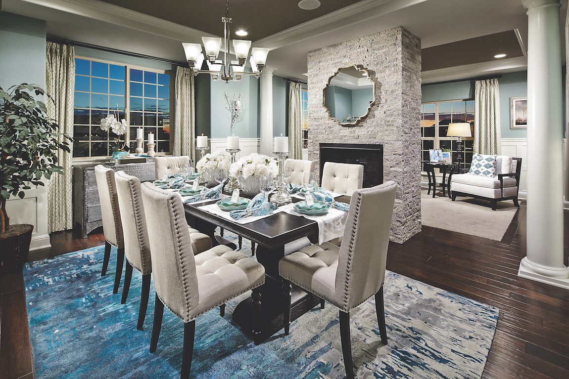 Dining room with an elegant table-setting.
