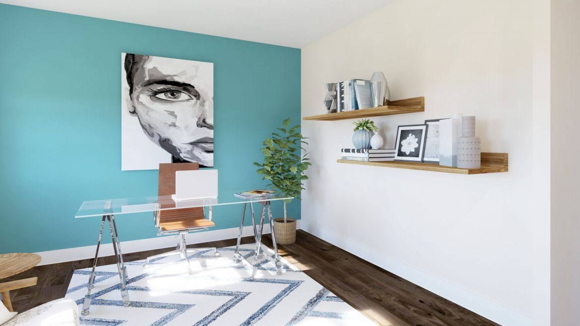 home office with gentle aquamarine paint color