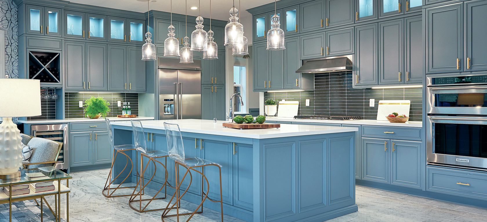 Blue cabinets and kitchen island