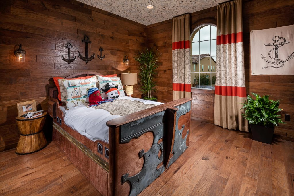 Teen bedroom with wood design elements.