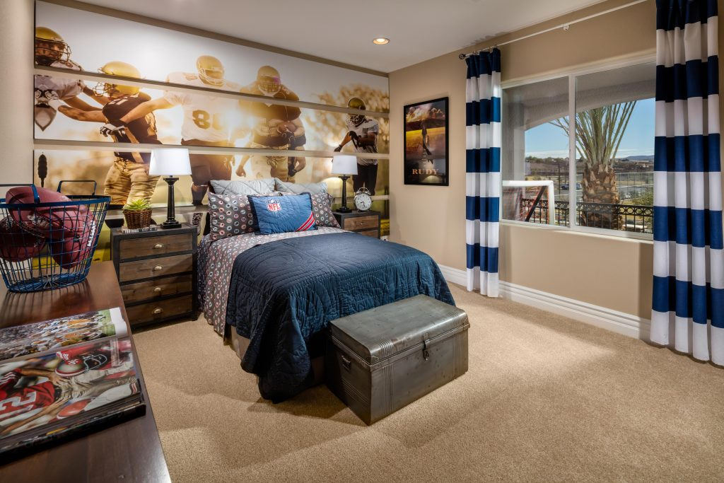 Teen bedroom with football theme.