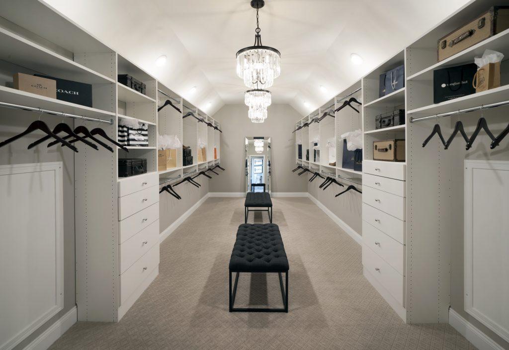 Spare room converted into a closet.