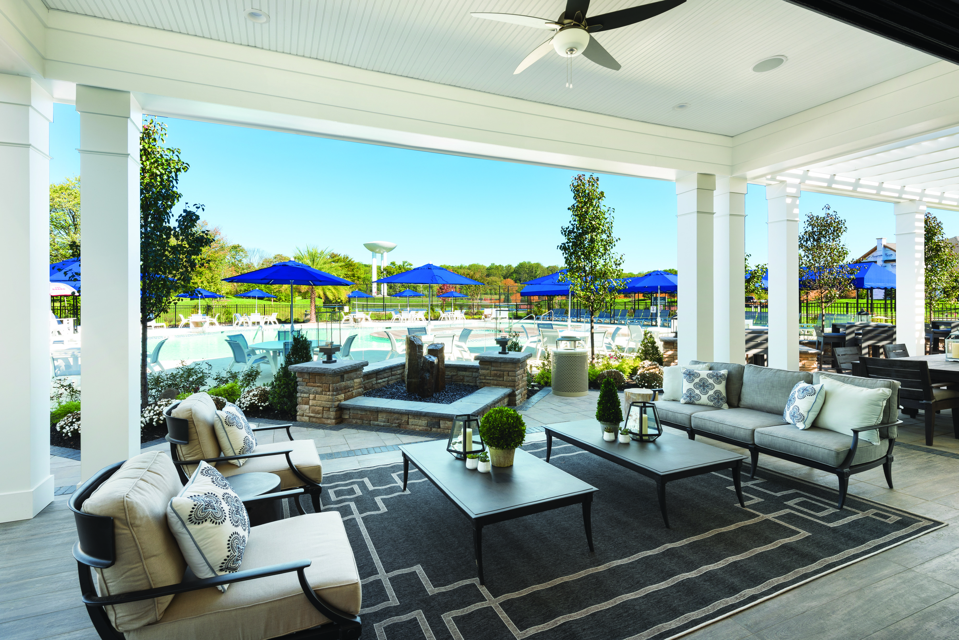 Pool and seating area in an active living community.