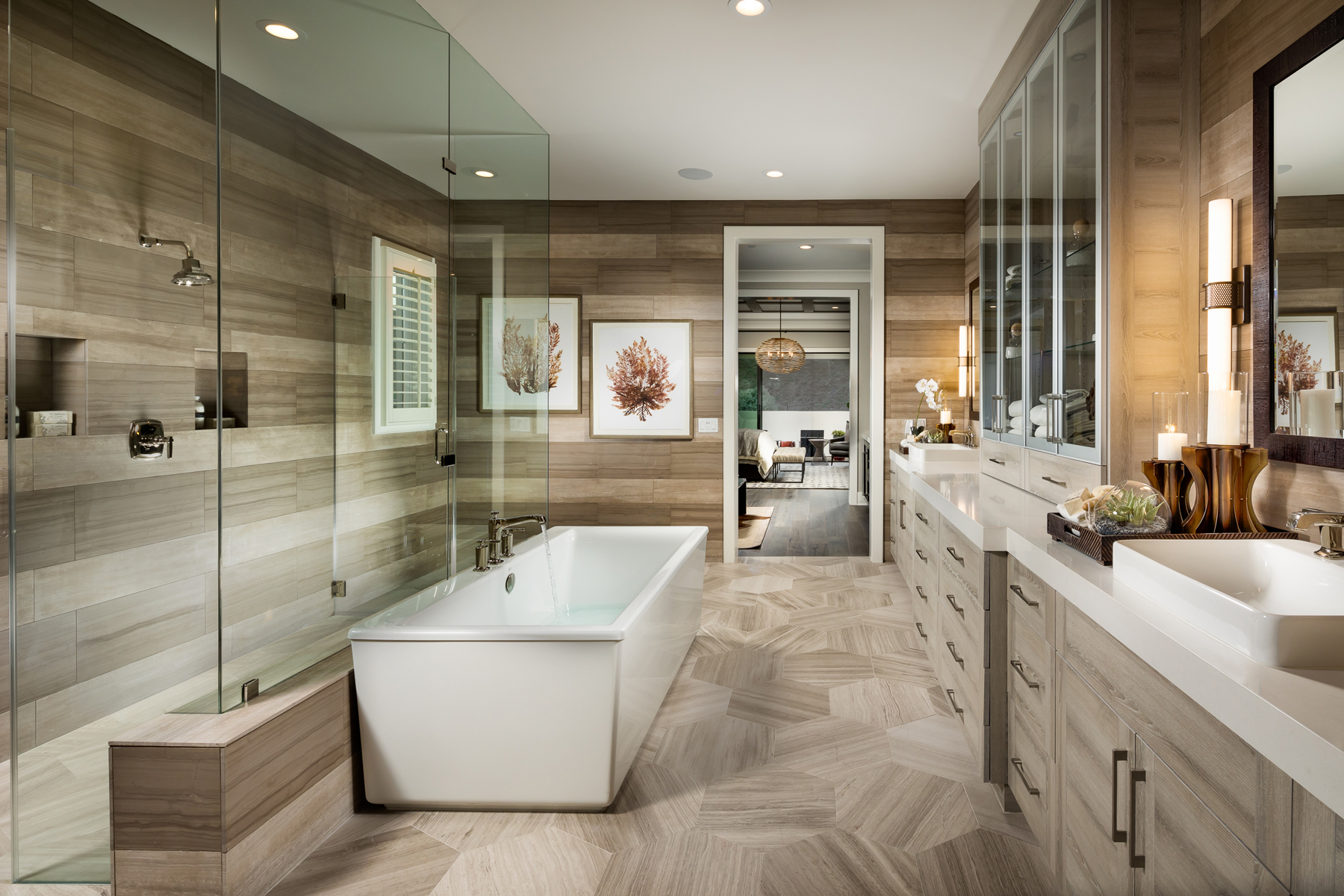 Modern bathroom with contrasting tiles on the floor and walls.