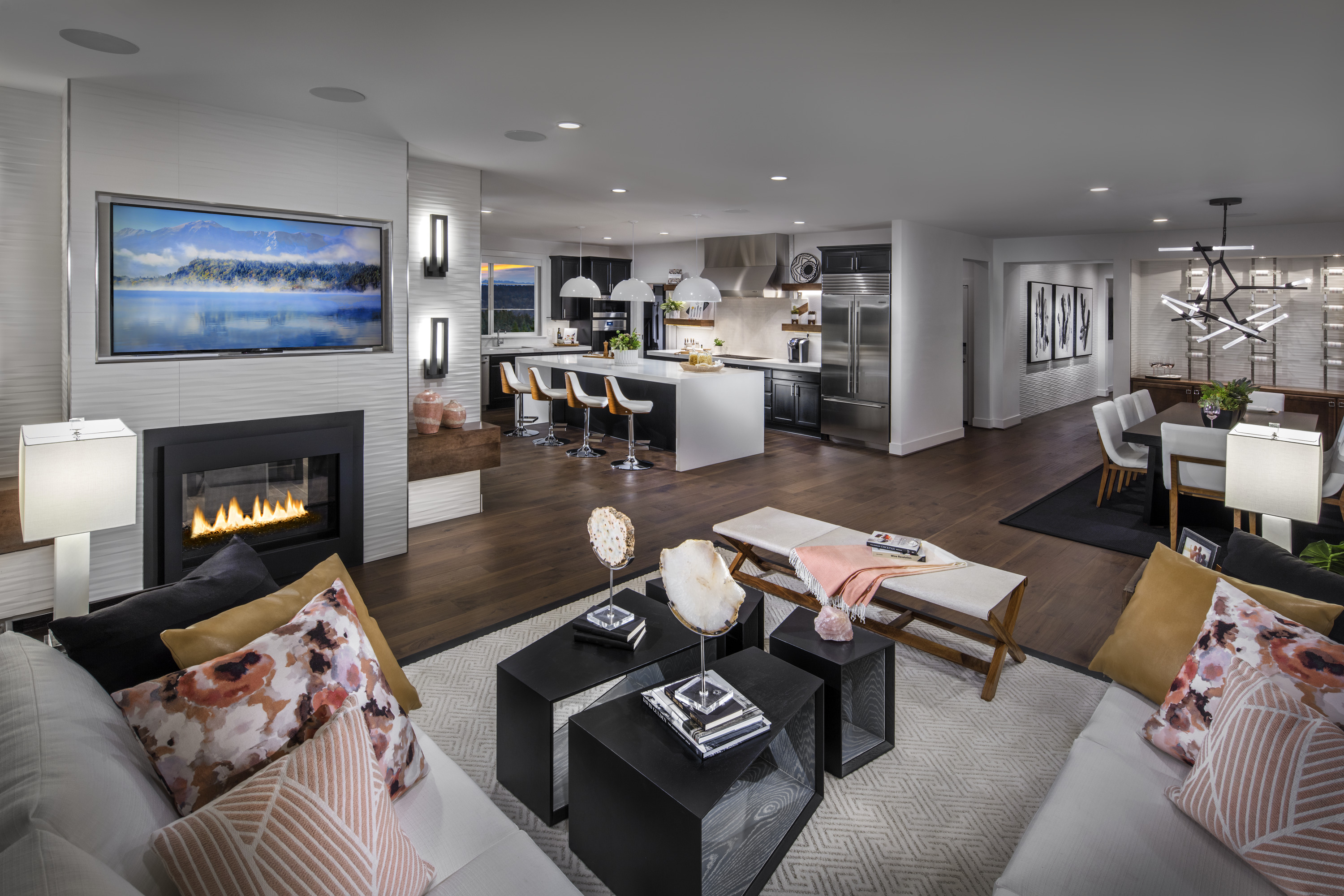 Modern open concept layout idea for those who love to entertain.
