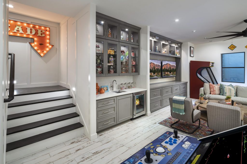 Game room in a basement.