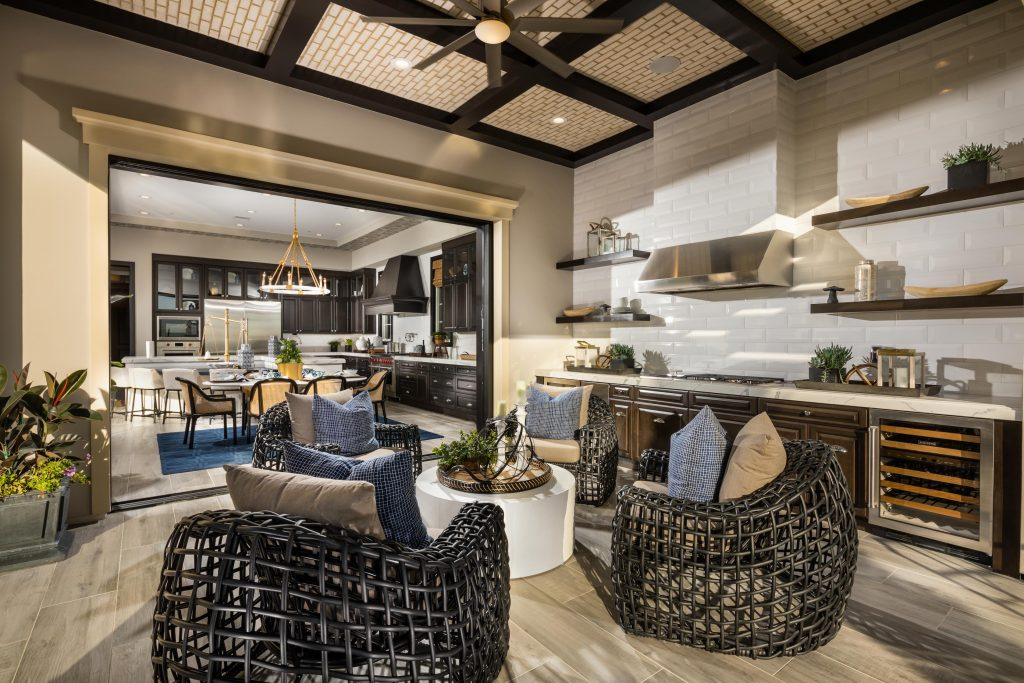 Home layout with a kitchen opening to outdoor space.