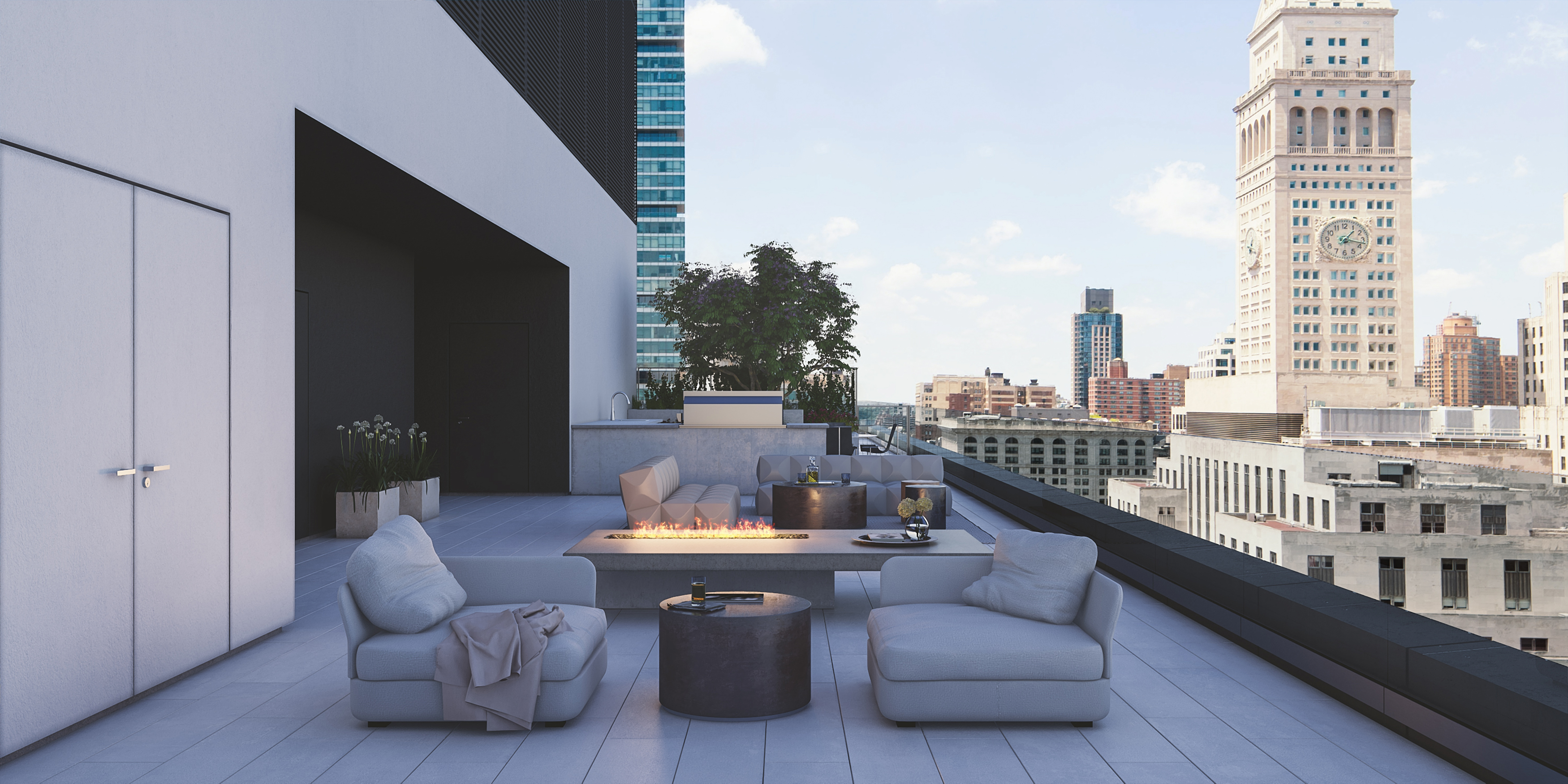 Terrace, with a fire pit, on a condo building in New York.