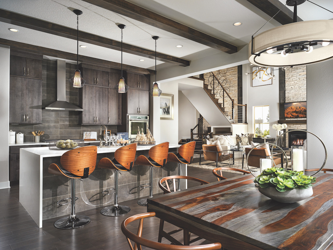 Modern kitchen with mixed metals incorporated into the design.