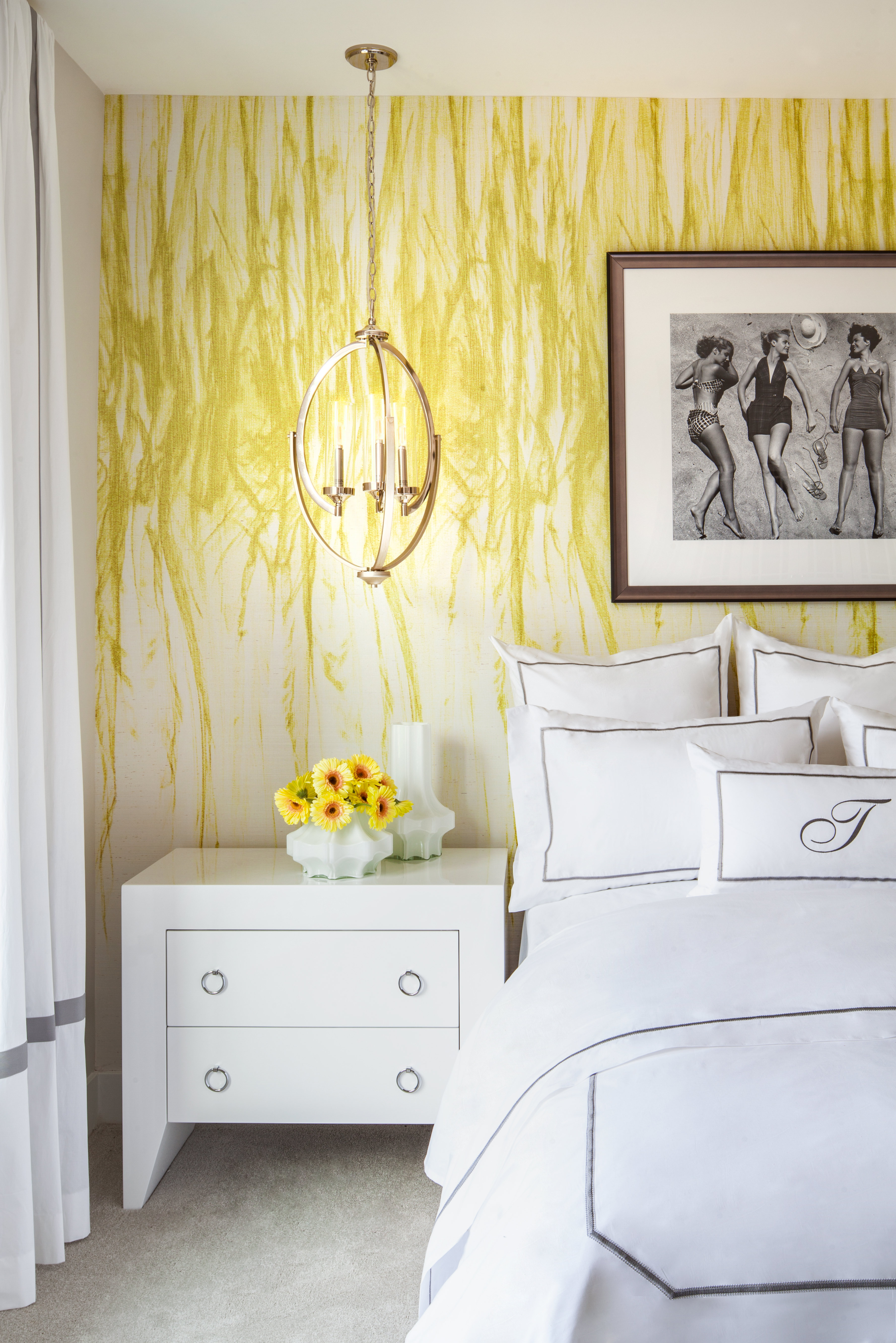 Bedroom with yellow wall.