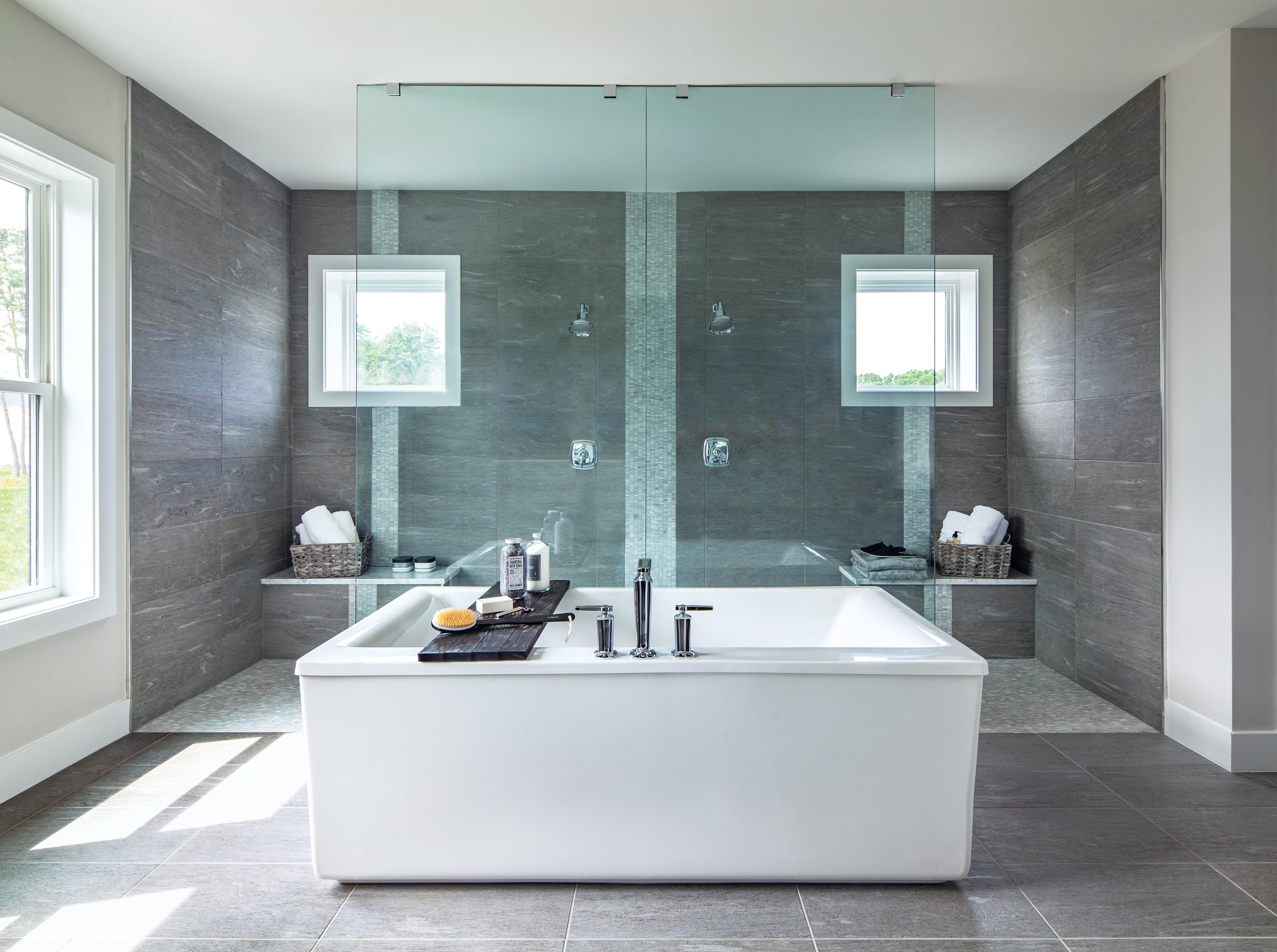 Modern bathroom with free standing bathtub.
