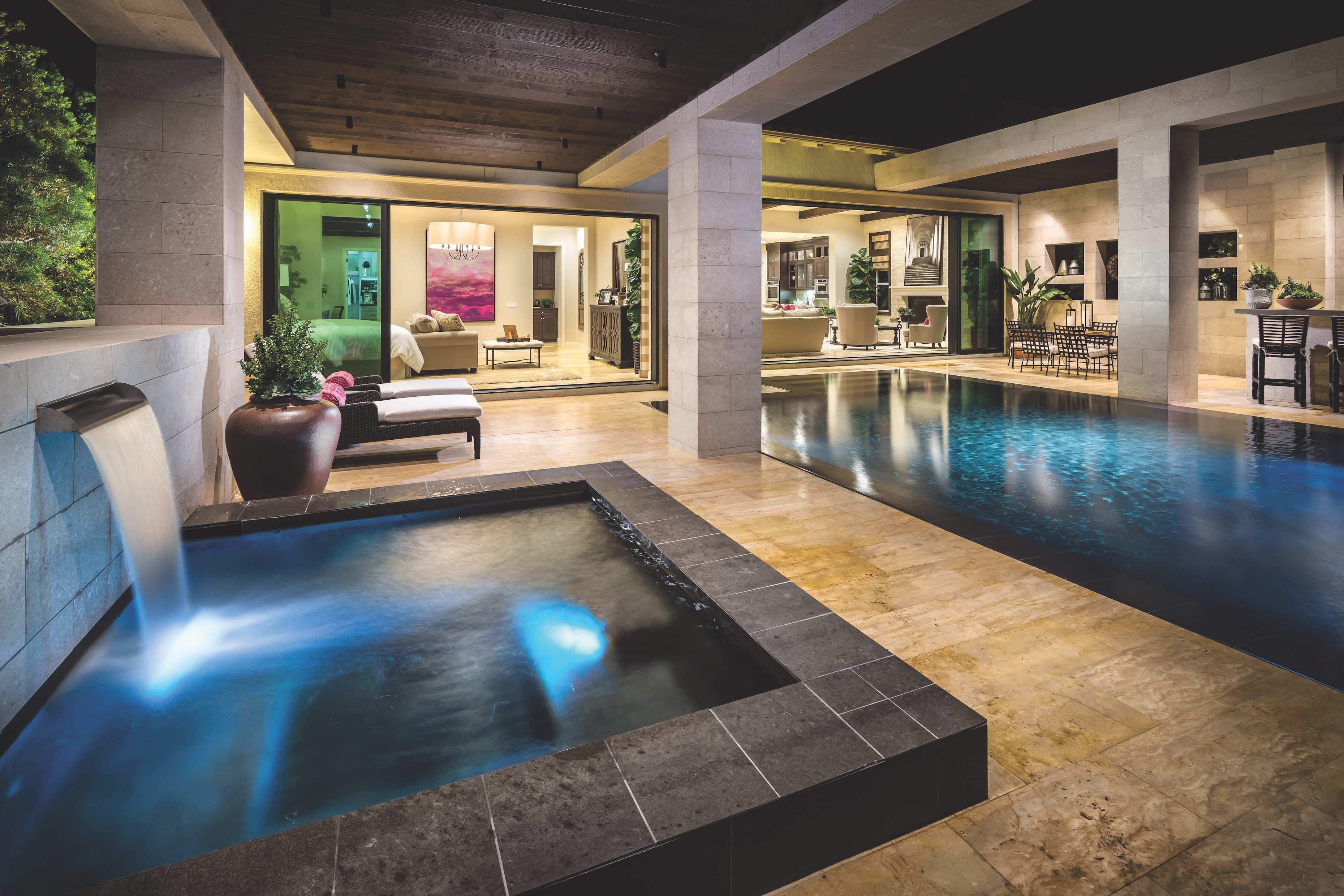 Backyard with Modern Water Feature