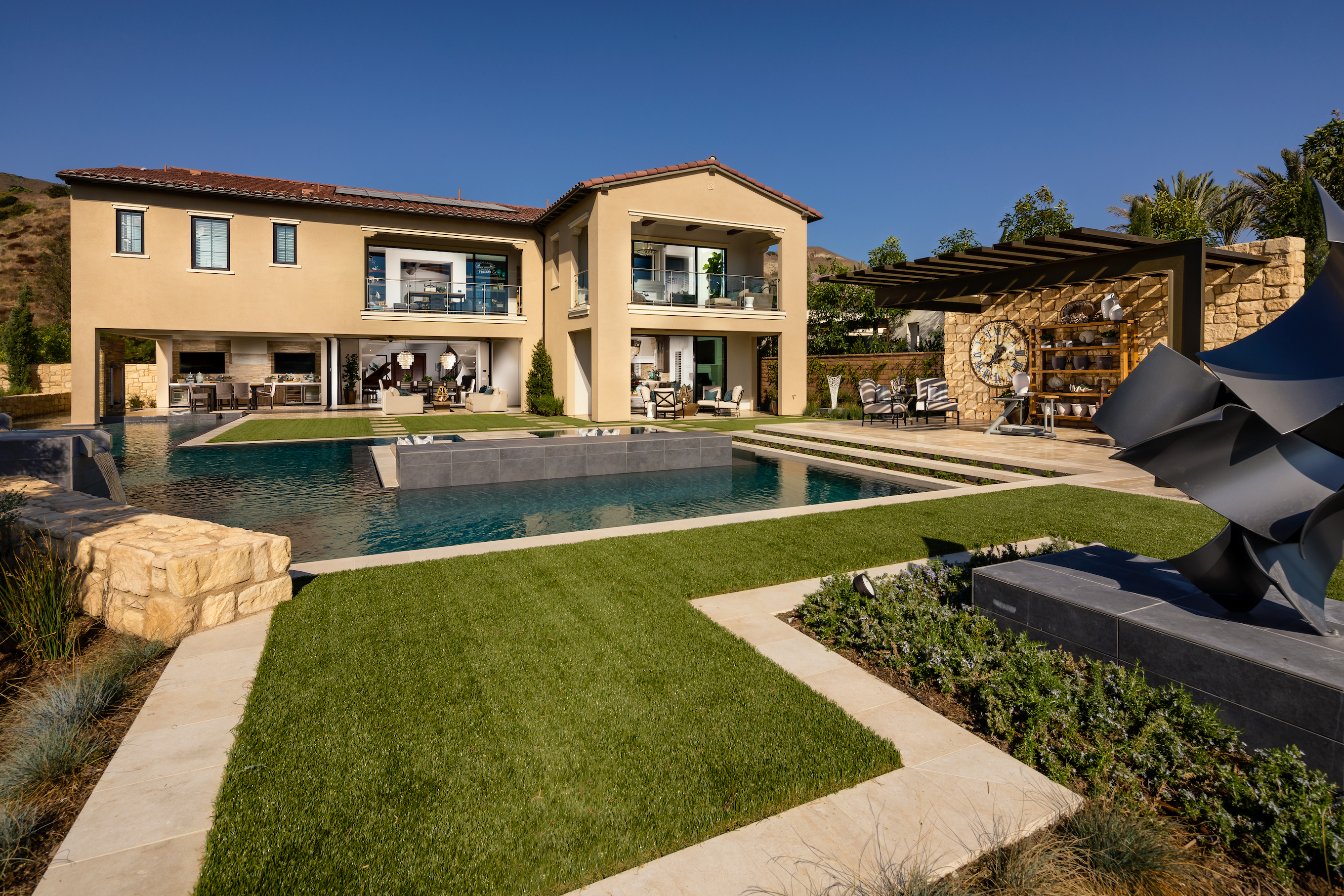 Backyard with a pool.