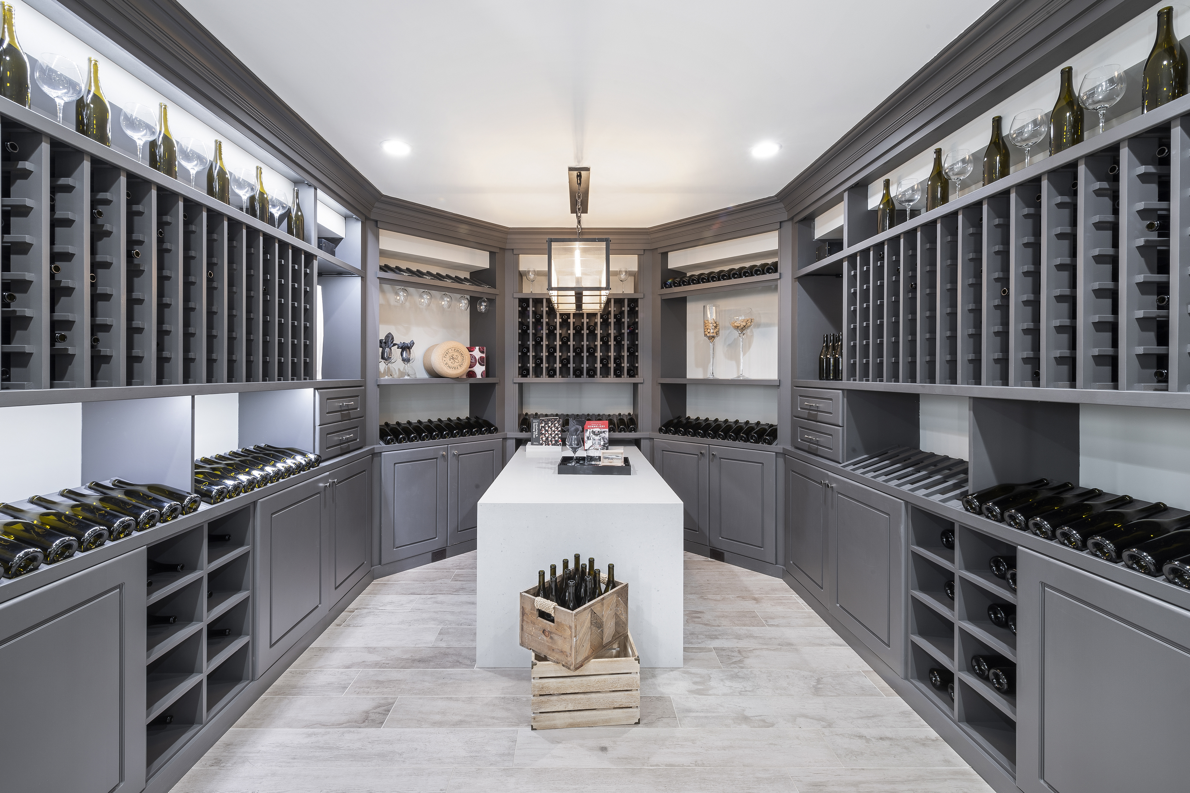 Wine cellar in a finished basement.