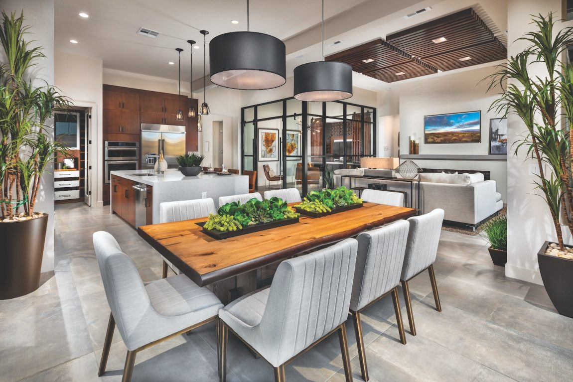 Kitchen with dining area and wooden accents