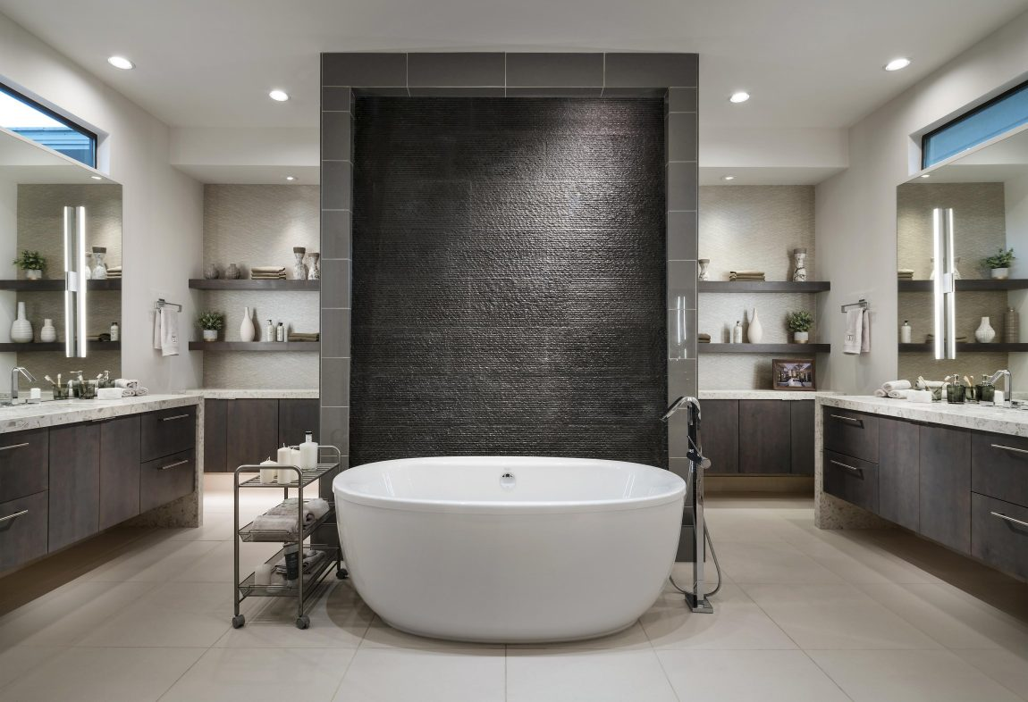 Luxury Bathroom with Open Shelving and Modern Backsplash