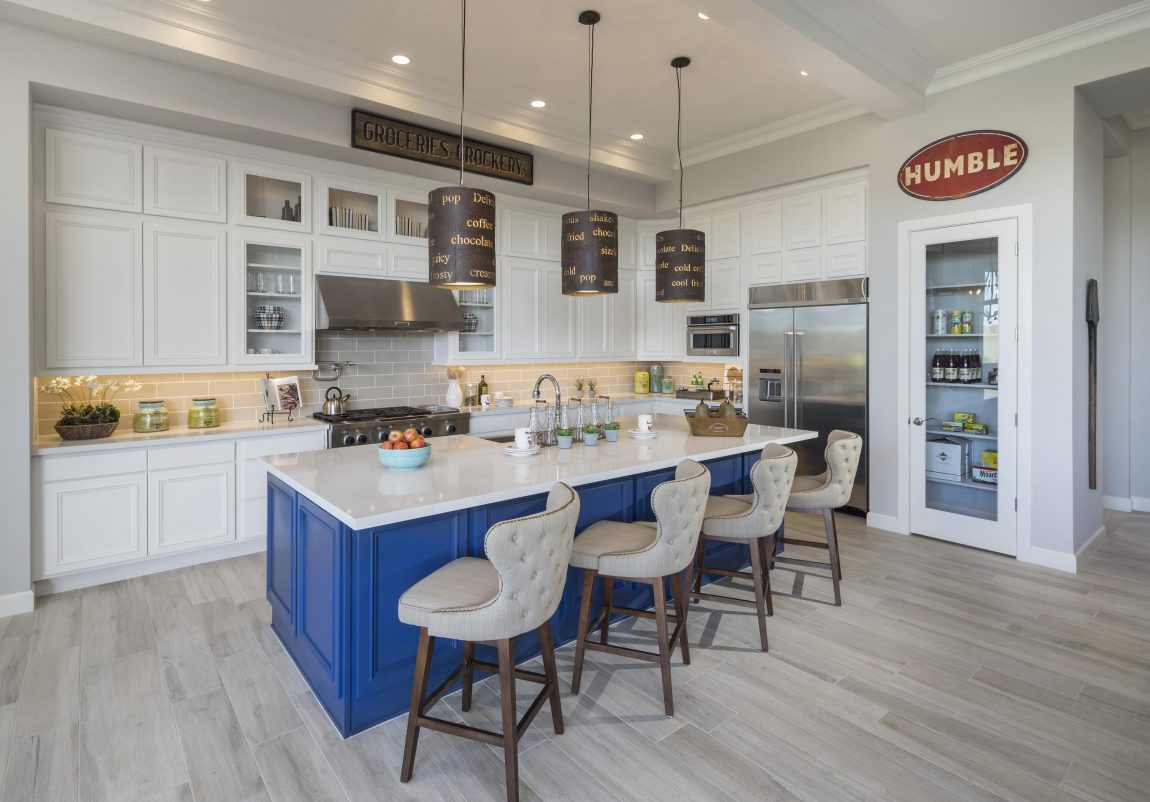 Modern Kitchen with a Royal Blue Island