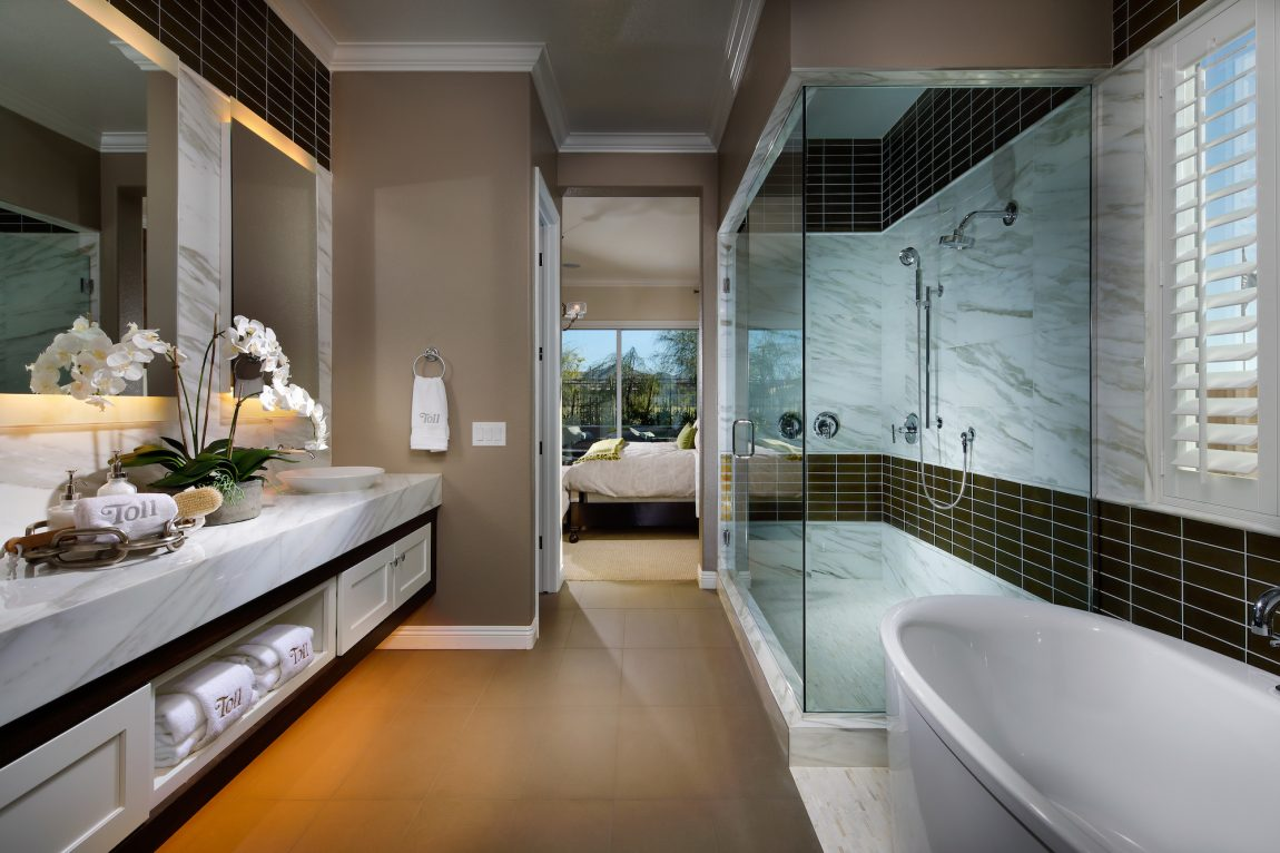 Master Bathroom with Modern Lighting and Luxury Shower