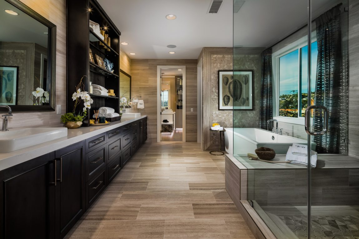 Large Master Bathroom with Modern Freestanding Tub & Glass Shower