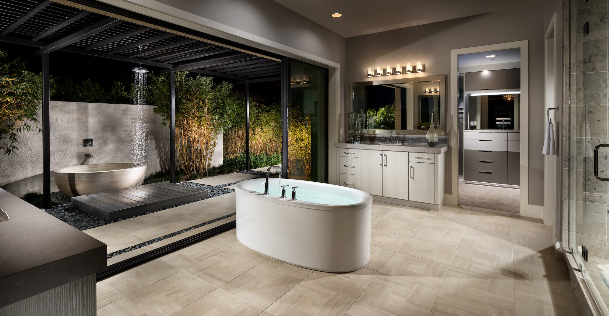 Luxury bathroom with outdoor shower