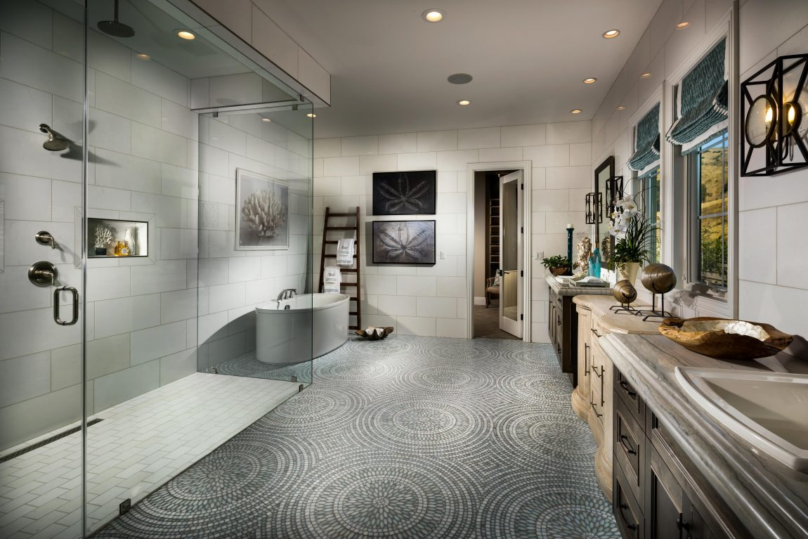Modern Bathroom with Grey Mosaic Tile Floor