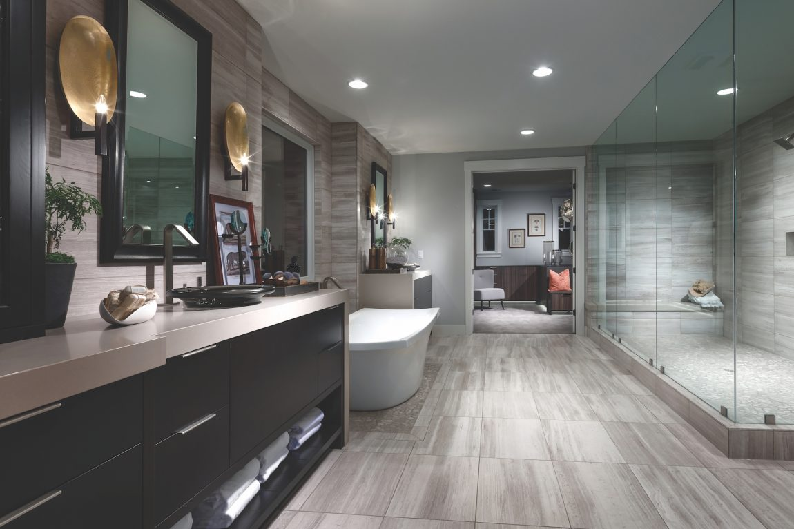 Modern luxury bathroom a with freestanding tub and a large shower.