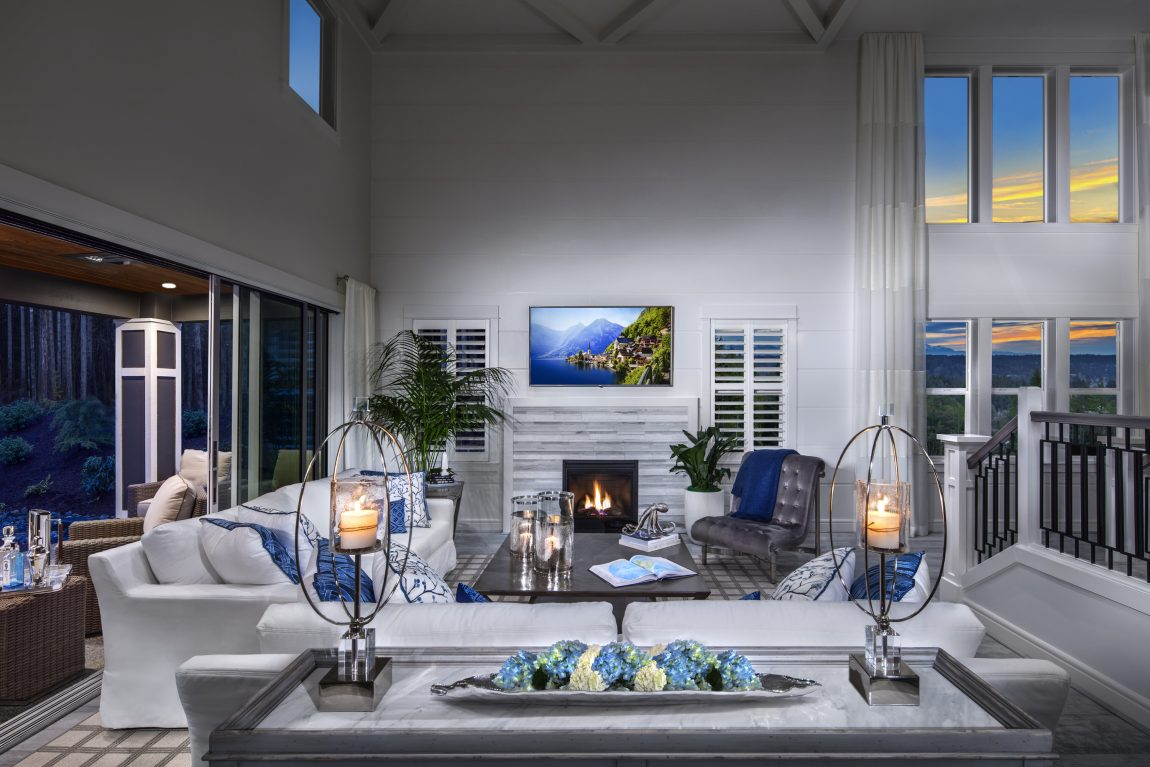 Living room of a luxury suburban home in Portland, Oregon.