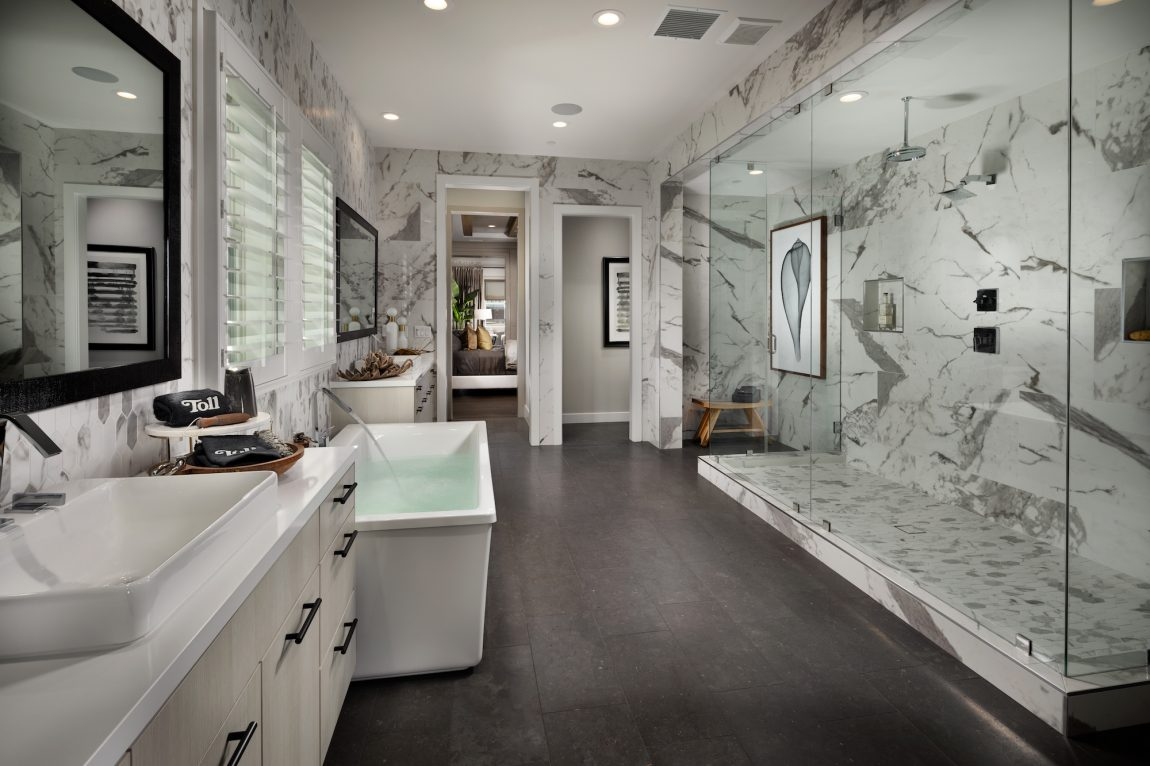 Luxurious Marble Shower with Freestanding Bathtub