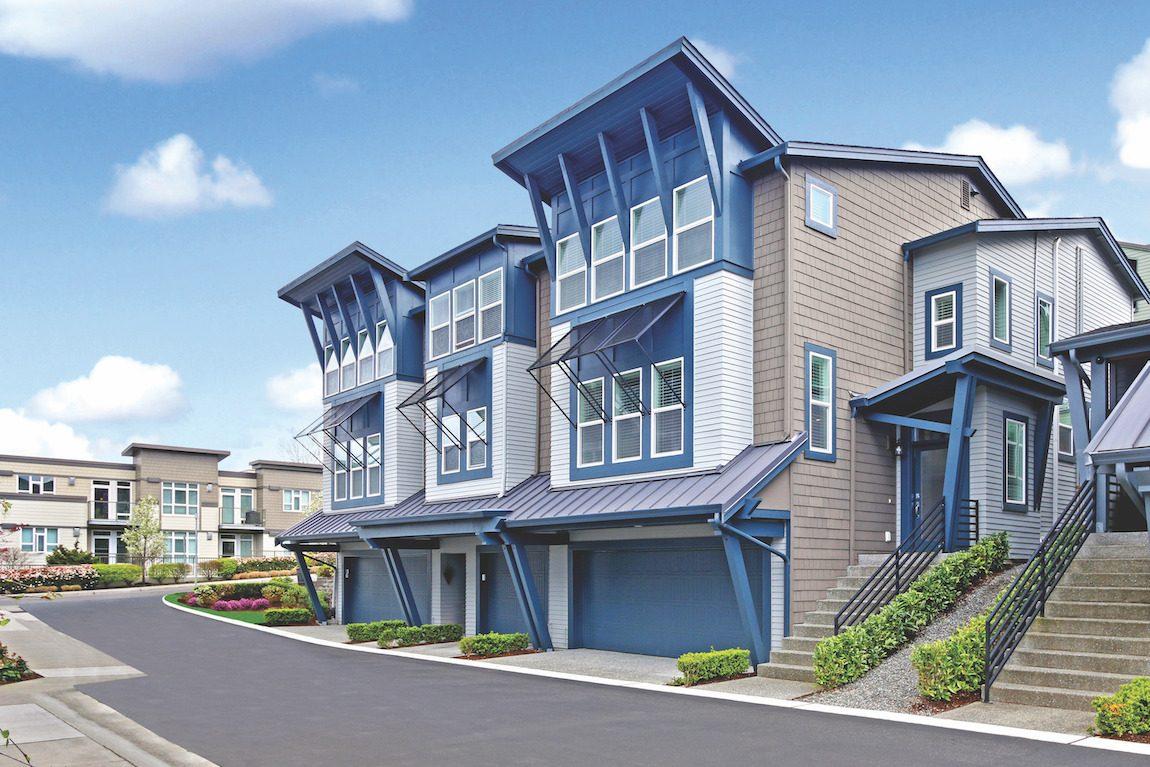 three luxury townhomes