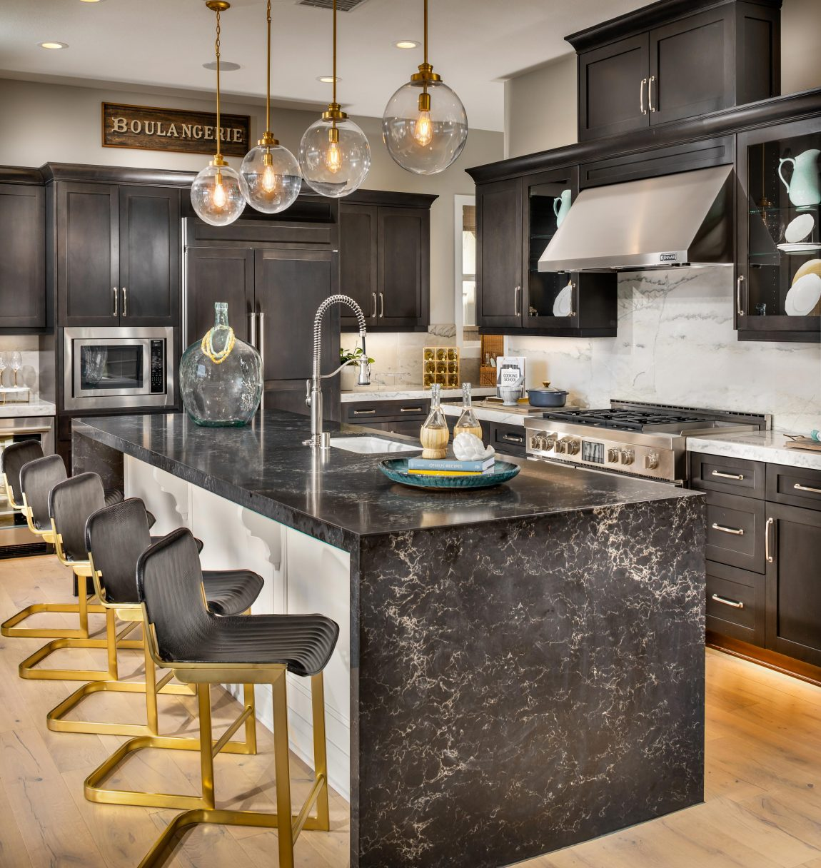 Kitchen with gold accents.